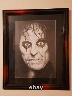 ALICE COOPER Picture Original Drawing In Pencil And Graphite By Mark Fox, Framed