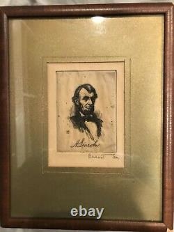 Abraham Lincoln Picture Parlor Card Drawing Bernhardt Wall Signed 1924