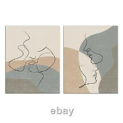 Abstract Couple In Love One Line Drawing 2 Panels Wall Art Canvas Print Pictures