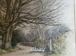 Adrian Hill 1895-1977 RA RBA NEAC Pastel pictures Tree and country lane