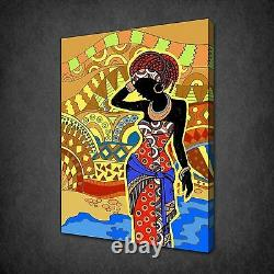 African Woman Drawing Abstract Canvas Print Picture Wall Hanging Free Uk P&p