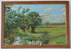 Antique French Impressionnist Pastel Drawing Picture Landscape River Signed
