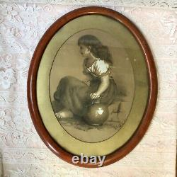 Antique Oval Charcoal Picture Of A Young Peasant Girl Framed Signed Initials LCF