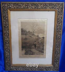 Antique Vintage Framed 27 x 22 Matted Hand Drawn Picture on Silk Signed