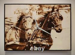 Black Horses Pyrography Wood Art Animal Wall Clock Picture 16.5 x 11.8 inch