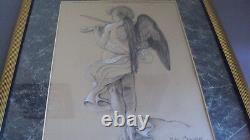 Charcoal Angel Drawing Picture Wall Hanging Judy Crawford Signed Framed