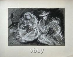 Coal / Chalk Drawing Family Man Woman Child Wg 1950 Picture Frame Gold 37 x 42