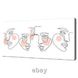 Continuous Line Face Drawing Woman Beauty Minimal Canvas Print Wall Art Picture