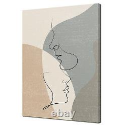 Couple In Love One Line Drawing Brown Grey Canvas Print Wall Art Picture