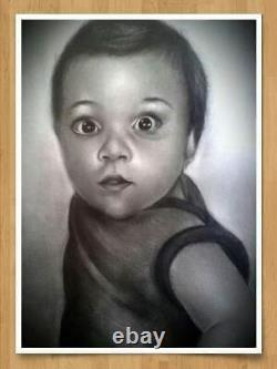 Custom Picture Pencil Drawing Photo. Hand-drawn black and white (1 person A3)