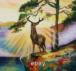 Deer from a fairy tale, acrylic, drawing on canvas, Pictures, Present, Nature, Art, buy