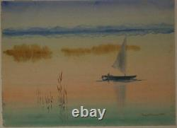 Eugen Vinnai (1889-1961) Mood Picture on The Chiemsee. Watercolour 1950 Signed