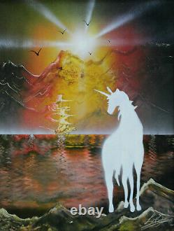 Fantasy Picture Unicorn With Sailing Boat And Mountains