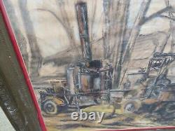 Framed Pastel Picture of an Alembic Brewing Moonshine, Attributed to Kim Thrower