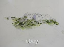 Framed Tim Lovejoy Pencil & Watercolour Painting Picture of Sifnos Greek Island