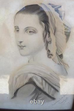 French Antique Picture Drawing Signed Joseph FRAME South Woman Portrait 1875