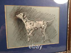 Hand Drawn Antique Framed 1974 Gibbs The Dalmation Picture Hand Drawn