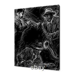 Jazz Players Musicians Drawing Black Canvas Print Wall Art Picture