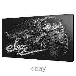 Jazzman Saxophone Player Drawing Style Black White Canvas Print Wall Art Picture