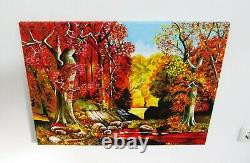 Landscape Oil Painting Autumn Original Art Canvas Scenery Picture Forest Drawing