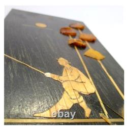 Lithuania USSR Wall Panel, Mosaic Picture Fisherman From Amber On Wood Straw