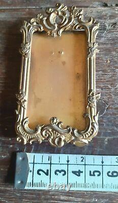 Lovely antique brass ormolu french tiny picture frame 9 cm