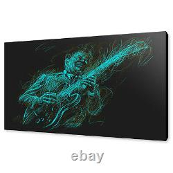 Musician Jazz Guitar Player Drawing Style Box Canvas Print Wall Art Picture