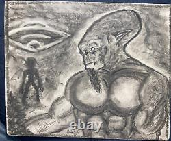 NAW 2015 Alien Visitors Original Charcoal Drawing Picture Art