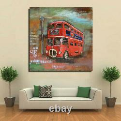 Original Contemporary Car Picture 100% Hand Painted Double Decker Red Bus Decor