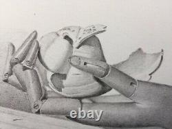 Original Pencil Sketch By ROMANO 4.5x6.5 Picture Opening