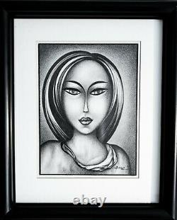 Original Signed Graphite Drawing Picture Girl 1997 Framed Black And White