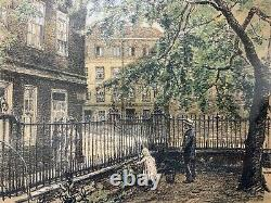 Original Victorian London Fleet Street Picture Drawing 1880 Antique Signed