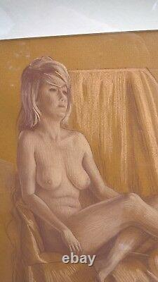 Original nude pastel picture very contemporary solid frame