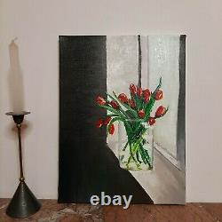 Painting Tulips a work of art, exclusive picture, oil painting, canvas, oil