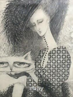 Pencil picture of a woman with a cat lady with a cat Garmider N. G. 1992