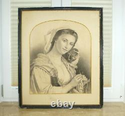 Picture Charcoal Drawing Sign Dat. 1899 Girl with Cat
