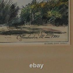Picture Offenbach At Main 1880 Old Hand-Colored Drawing Signature Mayer 1. Z