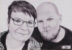 Portrait Drawing Black And White. Two People On The Picture