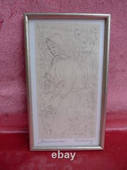 Pretty, Old Picture Woman With Chicken Autographed Kassy Ruzicskay
