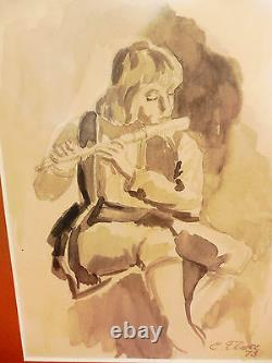 Pretty Picture Boy With Flute Drawing (Mixing Technique) Signed Grahmt