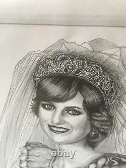 Princess Diana Portrait Laminated Pencil Drawing Black And White Art Picture
