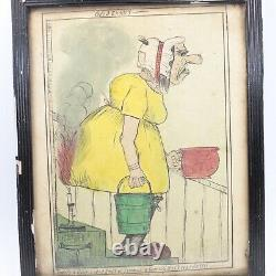 Satire caricature pen & ink drawing antique Theres A Confounded smell of summut