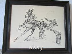 Signed Black & White Picture Of Trotter Sulky