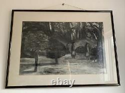 Superb Vintage Mid Century Large Signed Charcoal Picture Nuns