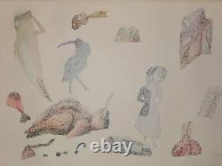 Szemethy Imre (1945) Ink drawing Pictures from ancient mayonnaise culture #1