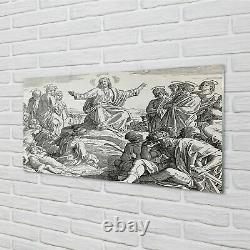 Tulup Glass Print 140x70 Wall Art Picture Jesus drawing people