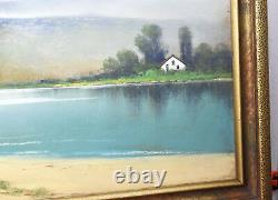 Vintage Antique C. A. Reiner Pastel Lake House Drawing Painting Picture Signed