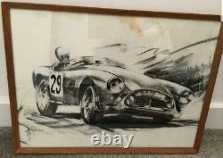 Vintage Dion Pears Charcoal And Pencil Picture Of AC Ace Bristol Roadster 1956