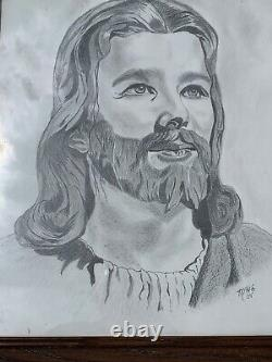 Vintage Stunning Picture of JESUS 24/20 Framed Unique Pencil Drawing ART m9