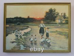 Vintage USSR picture young woman with child and goose in the early morning